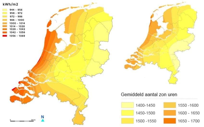 zonnepanelen zonuren zon instraling kaart nederland